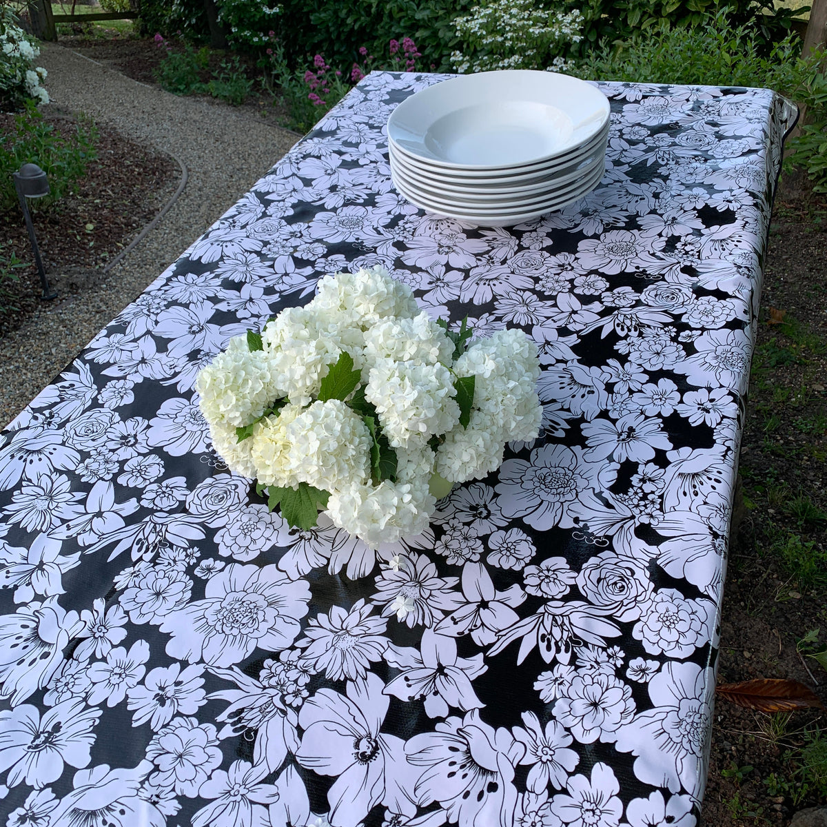Oilcloth Tablecloth – Wildflowers in Black & White