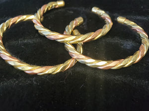 Brass and Copper Twist Cuff Women's Bracelet by PH
