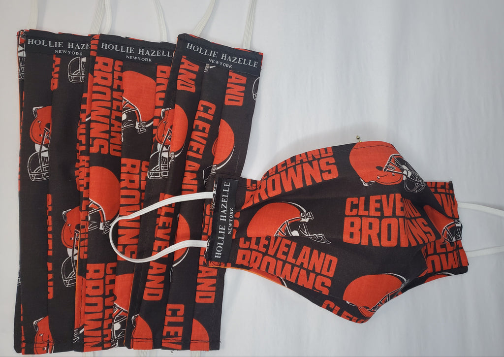 Pure Hazelle Cotton/ Poly Reusable Face Mask Cleveland Browns repeat print #PHCLE
