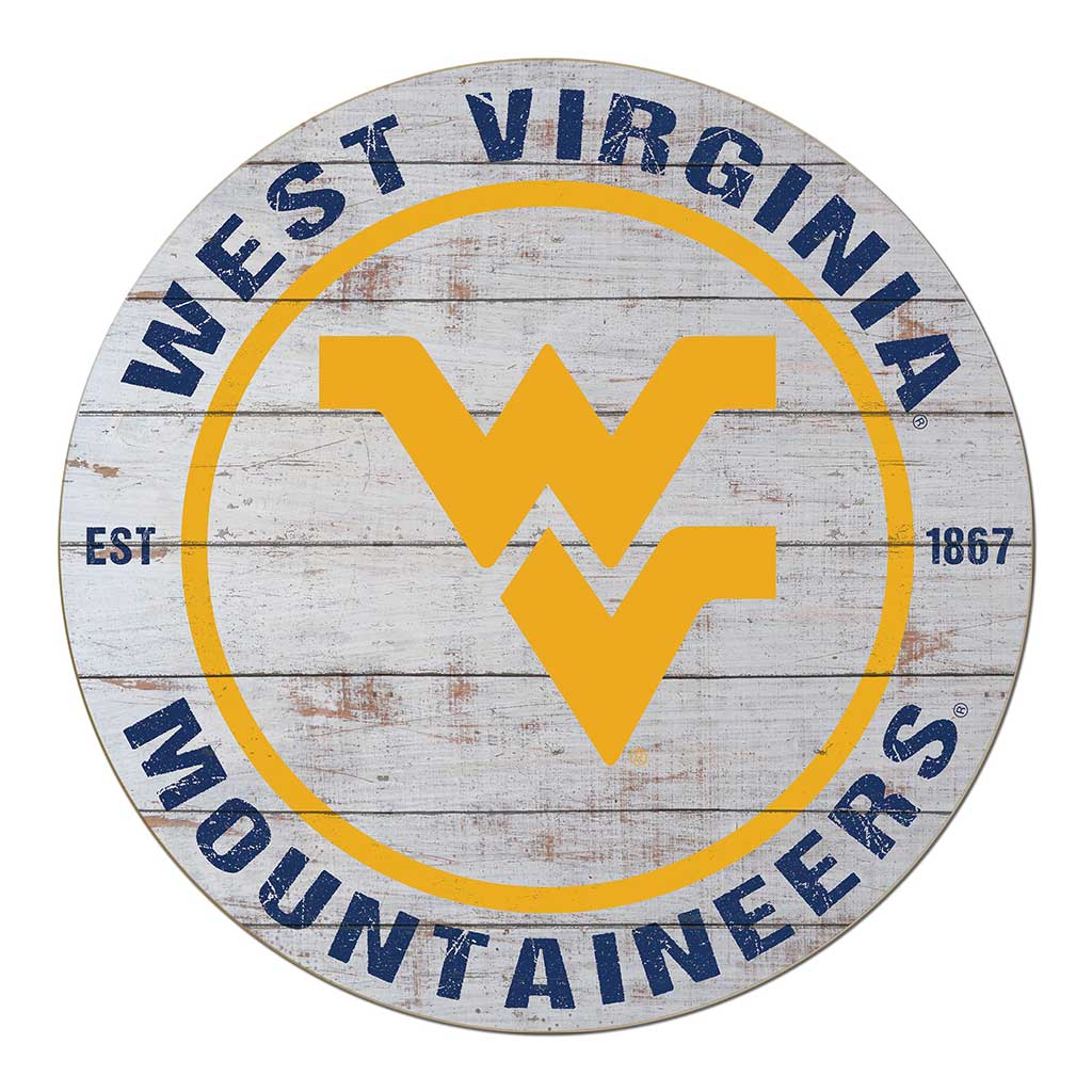 20x20 Weathered Circle - Classic West Virginia Mountaineers