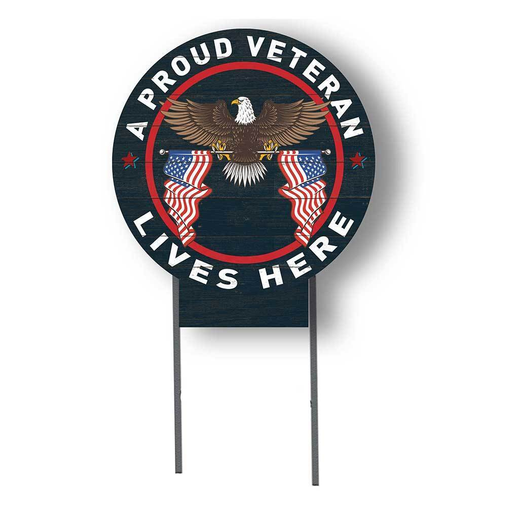 Proud Veteran Lives Here Circle Lawn Sign