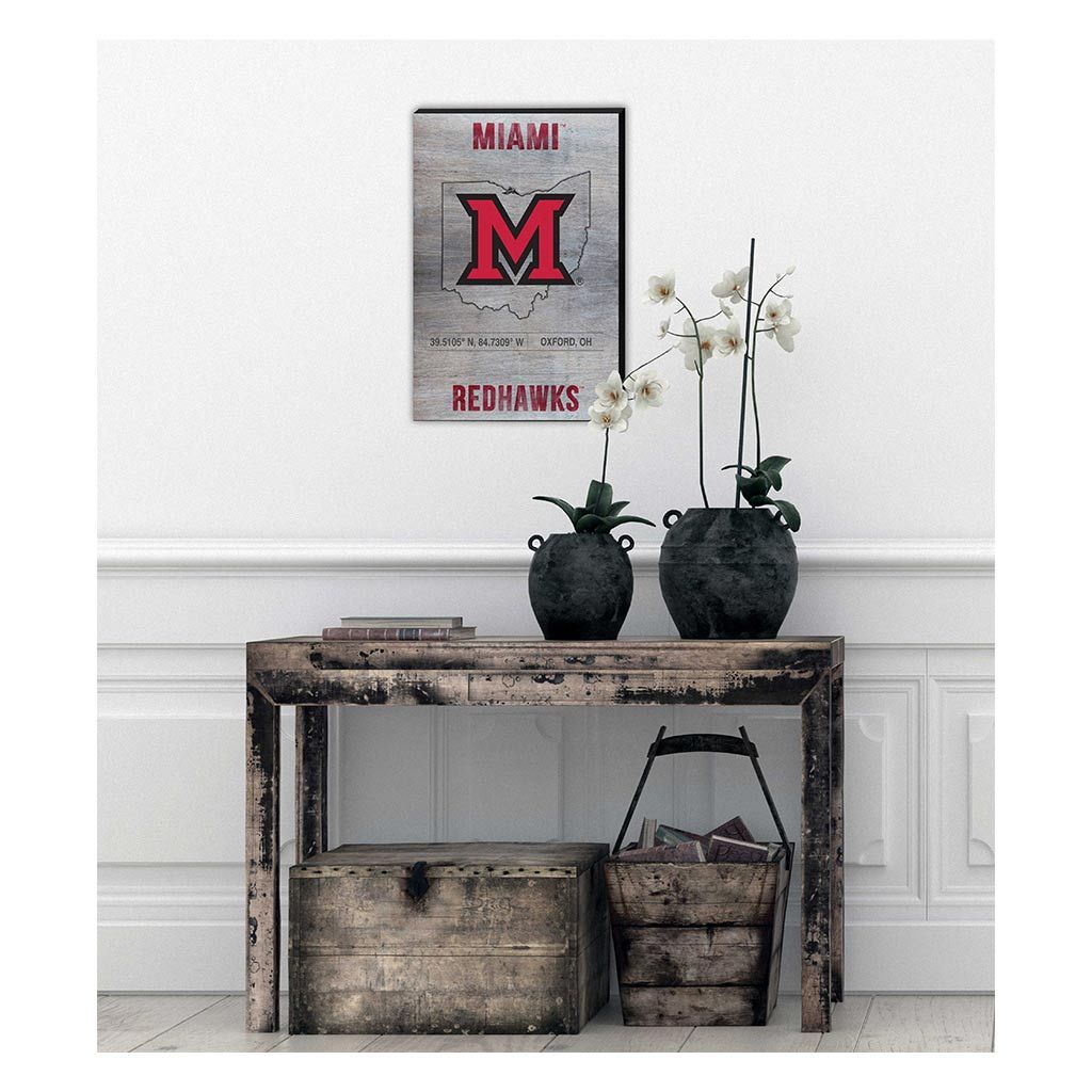 18x12 Canvas State Coordinates Miami of Ohio Redhawks