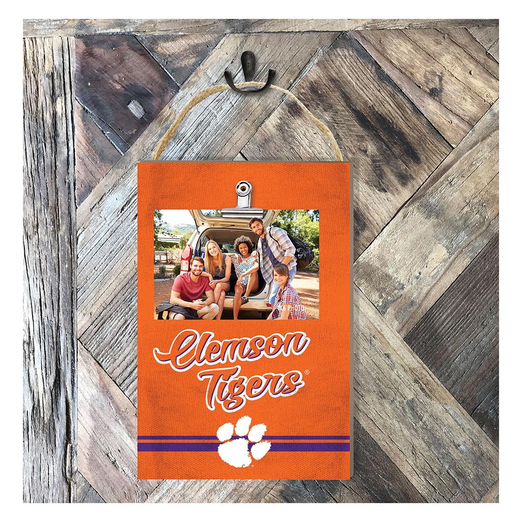 Hanging Clip Photo Frame Colored Logo Clemson Tigers