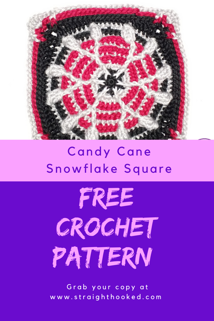 Candy Cane Snowflake Square FREE PATTERN
