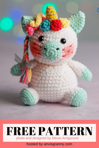 Straight Hooked Minzy The Unicorn from Meow Amigurumi