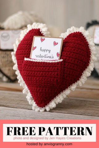 Straight Hooked Crochet Heart Pillow from Jen Hayes Creations