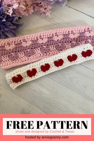 Straight Hooked Chain of Hearts Headband from Crochet and Twists