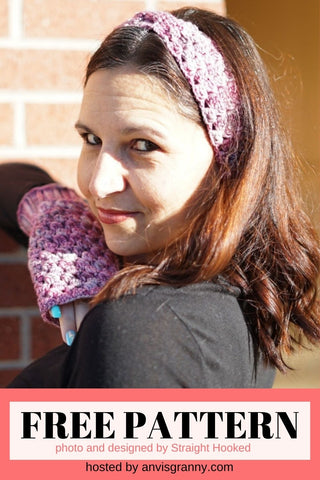 Ice Cap Fingerless Gloves and Headband from Straight Hooked