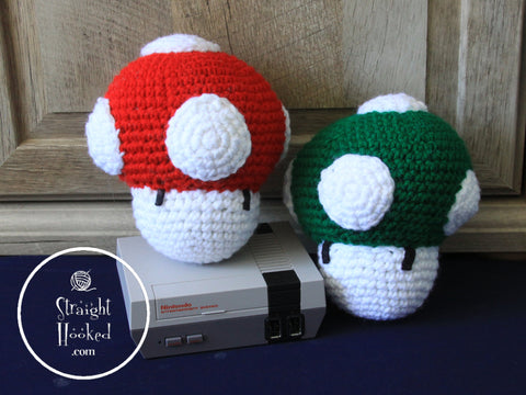 crocheted Amigurumi super Mario brothers mushrooms Nintendo console StraightHooked Straight Hooked crochet
