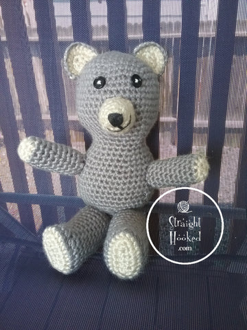 crocheted Amigurumi bear grey white outdoor ugly bear StraightHooked Straight Hooked crochet