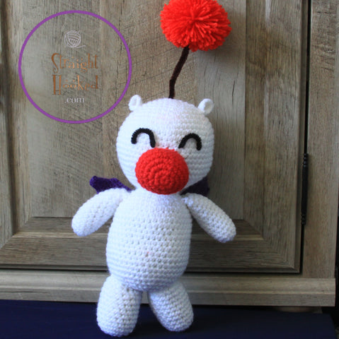 crocheted Amigurumi moogle white red pompom adorable crochet original design StraightHooked Straight Hooked crochet