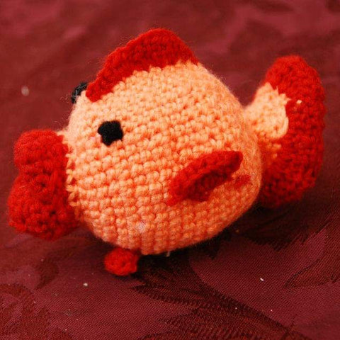 crocheted fish Amigurumi orange red burgundy side profile StraightHooked Straight Hooked