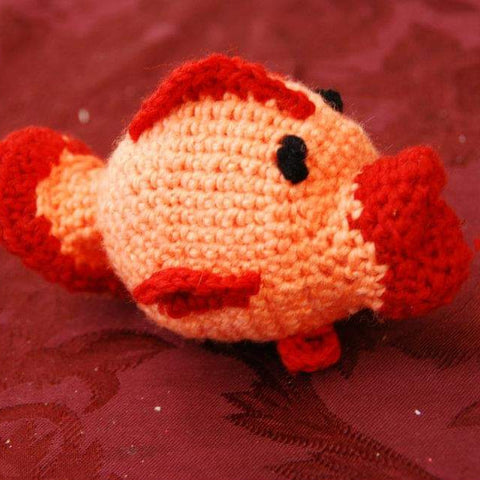 crocheted Amigurumi fish orange red burgundy side profile StraightHooked Straight Hooked crochet