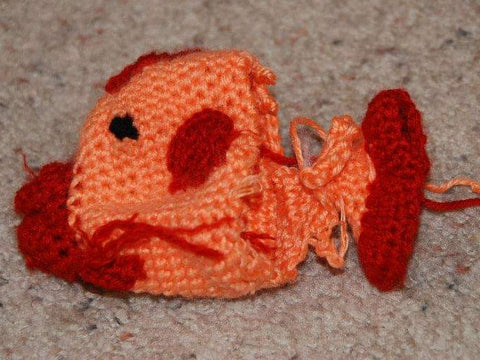 destroyed Amigurumi fish orange red crochet crocheted StraightHooked Straight Hooked
