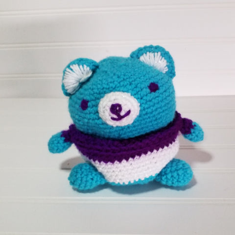 crocheted Amigurumi bear blue white purple cute StraightHooked Straight Hooked crochet