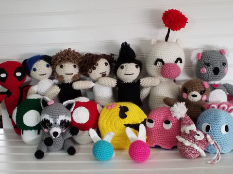 crocheted Amigurumi deadpool Marianas Trench moogle Koala super Mario mushrooms pac man reversible pac man ghosts raccoon navi owl crochet StraightHooked Straight Hooked original designs paid patterns
