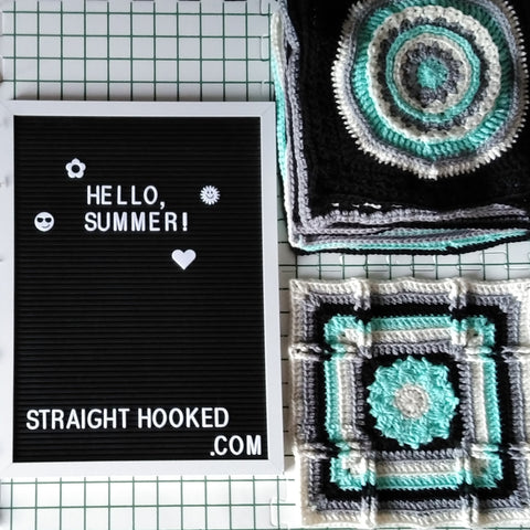 StraightHooked letterboard hello summer Patchwork Mystery CAL squares crocheted