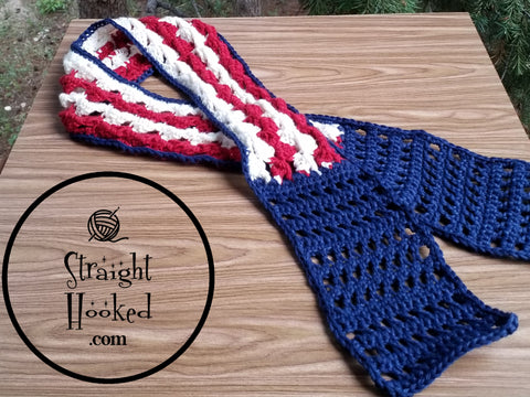 Straight Hooked Stars and Stripes Head Wrap