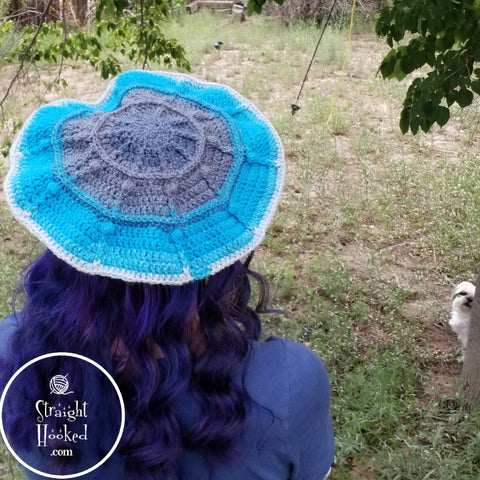 Straight Hooked Berry Fun Beret with Shih Tzu Photobomber