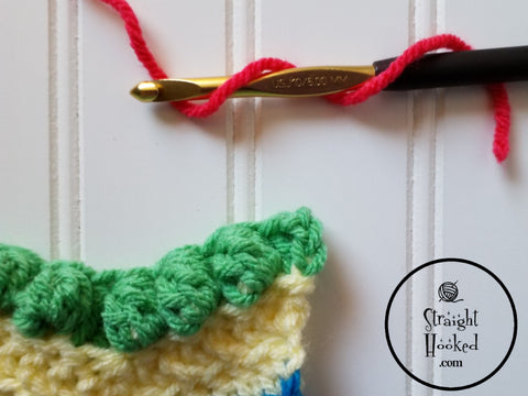 Straight Hooked Standing Double Crochet Step 1
