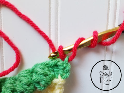 Straight Hooked Standing Double Crochet Step 2