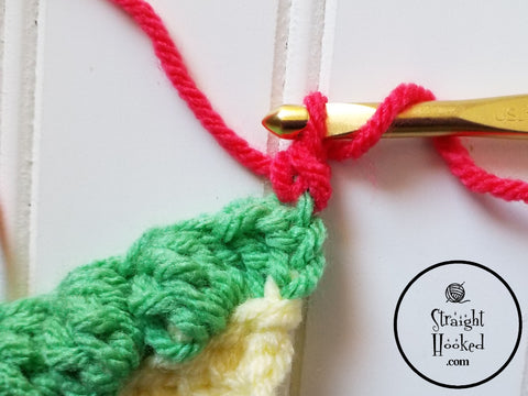 Straight Hooked Standing Double Crochet Step 3