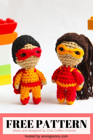 Straight Hooked Mini Superhero Doll from Chai Coffee Crochet