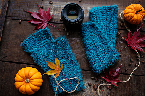 Straight Hooked Cozy Bliss Fingerless Mitts Bliss This