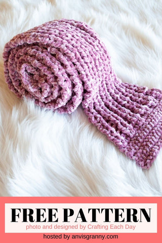 Straight Hooked Crochet Velvet Scarf from Crafting Each Day