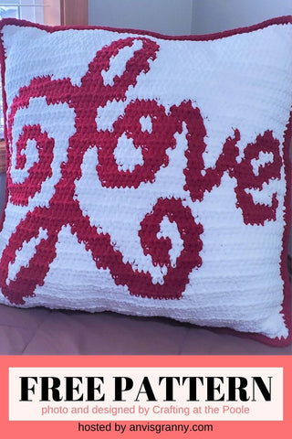 Straight Hooked Love Pillow from Crafting At The Poole