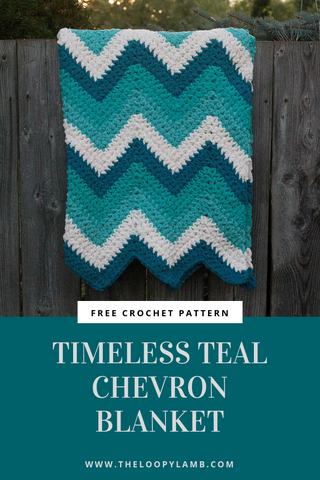 Timeless Teal Chevron Blanket The Loopy Lamb StraightHooked