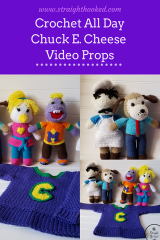 Straight Hooked Chuck E. Cheese Crochet All Day Video Props