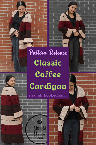 Straight Hooked Classic Coffee Cardigan pattern release