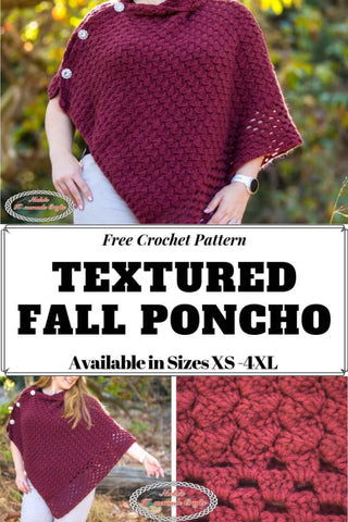 Textured Fall Poncho Nickis Homemade Crafts Straight Hooked