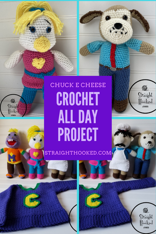 Straight Hooked Crochet All Day Chuck E. Cheese commission project