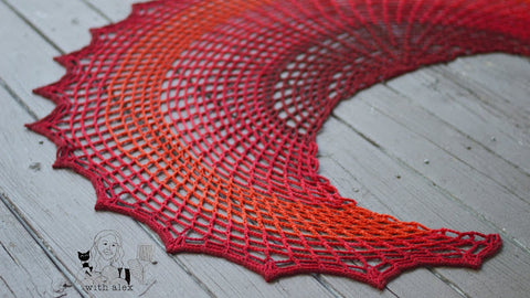 Straight Hooked Sunset on Fire Shawl With Alex