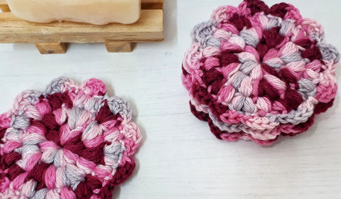 Flower Face Scrubbies Made by Gootie Straight Hooked