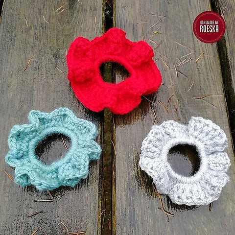 Flowerette Scrunchies Handmade By Roeska Straight Hooked