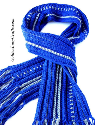 Straight Hooked Men's Scarf Golden Lucy Crafts