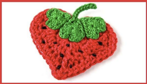 Straight Hooked Strawberry Applique Golden Lucy Crafts