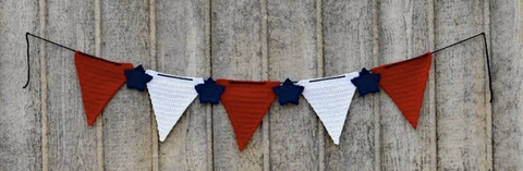 Straight Hooked Independence Day Banner Hands Yarn Hooks