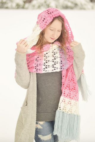 Straight Hooked Piper Hooded Shawl With Alex