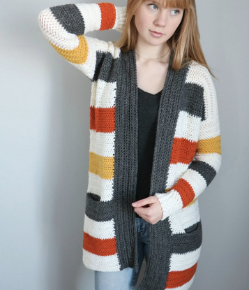 Straight Hooked Every Day Striped Cardigan MJ's Off The Hook Designs