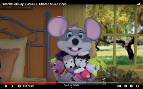 Chuck E. Cheese Youtube Crochet All Day Straight Hooked