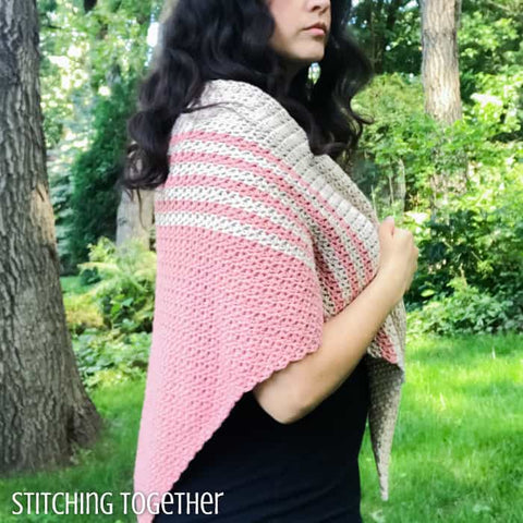 Tela Triangle Shawl Stitching Together Straight Hooked