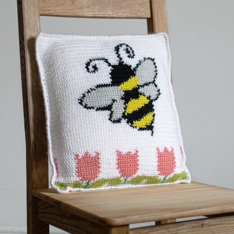 Straight Hooked Bee Pillow Sunflower Cottage Crochet