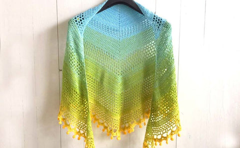 Pom Pom Happiness Shawl Wilmade Straight Hooked