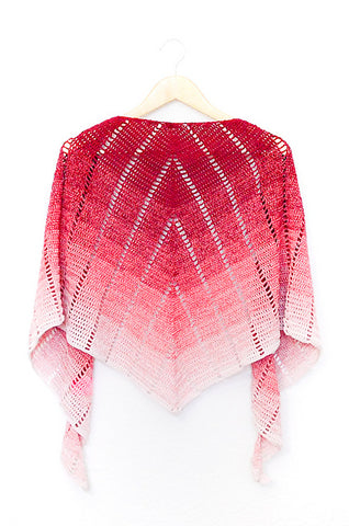 Raspberry Croissant Shawl Yarnandy Straight Hooked