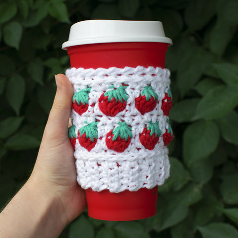 Straight Hooked Strawberry Coffee Cozy Sunflower Cottage Crochet