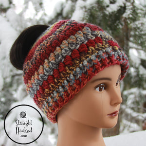 Mountain Sunset Messy Bun Hat